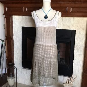 TOMMY BAHAMA NWT Beige Crochet Dress Sleeveless XS